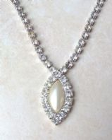 Vintage Rhinestone and Faux Pearl Necklace By Sarah Coventry.